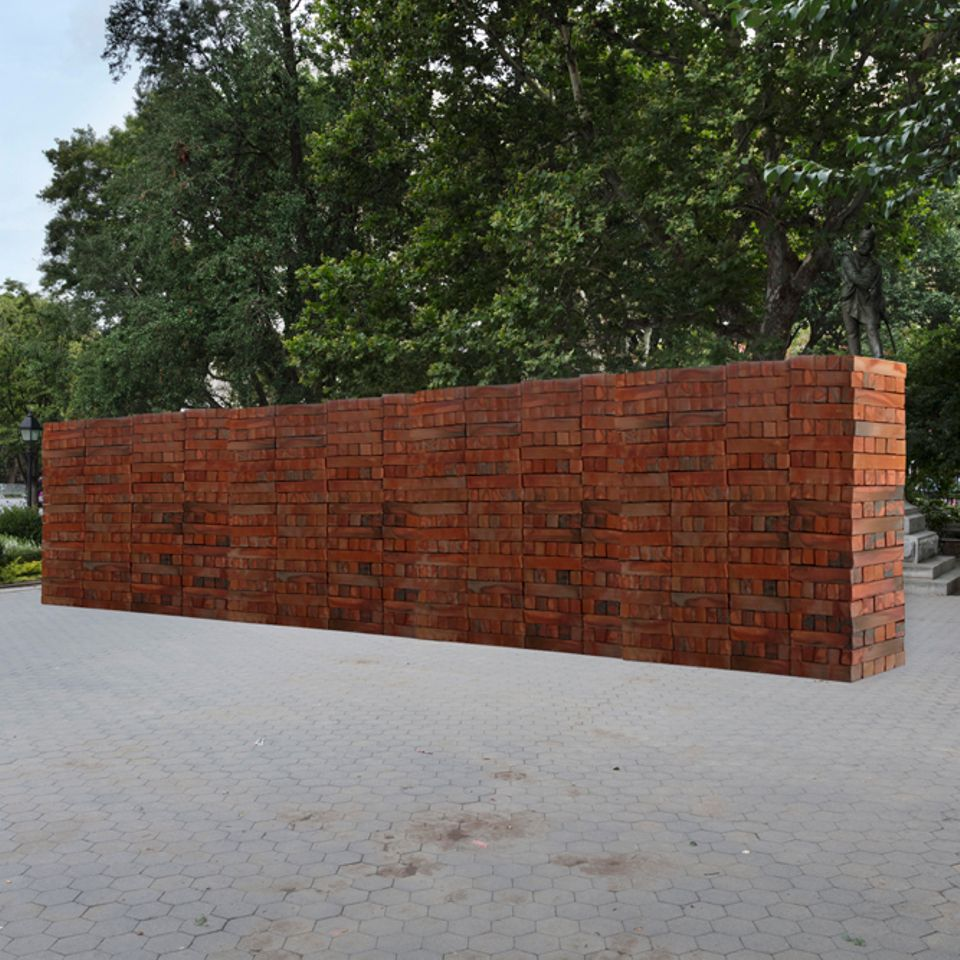 A rendering of  Bosco Sodi's 26-ft long wall for New York City's Washington Square Park
