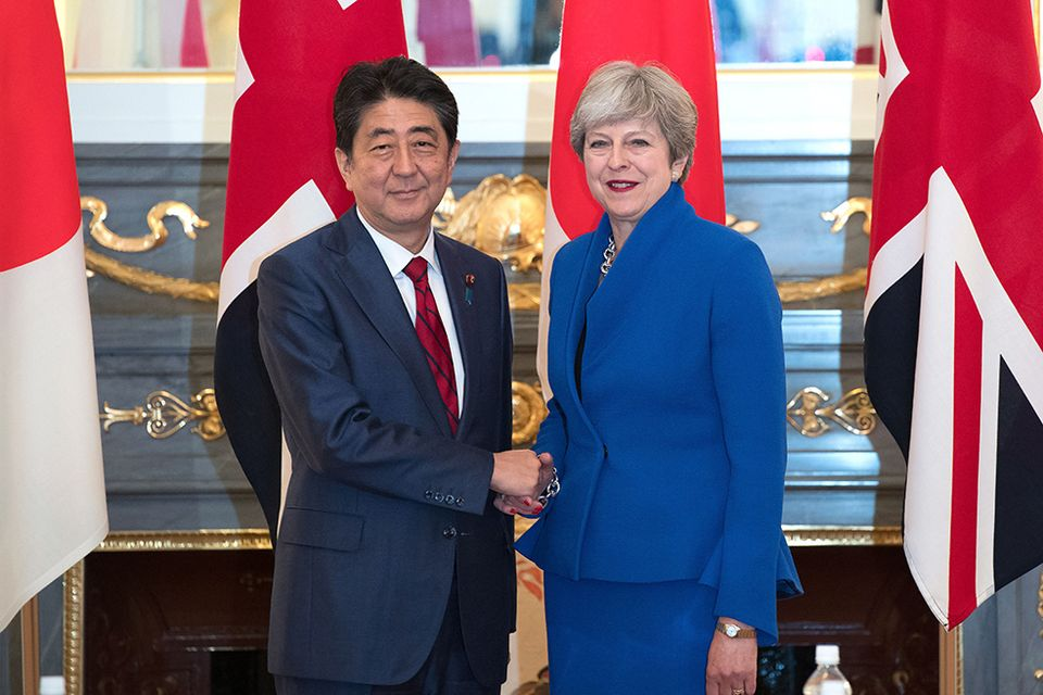 Japan's prime minister Shinzo Abe with Theresa May during her recent visit to Japan