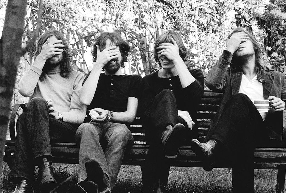 Money, it's a gas: Pink Floyd in 1971 with their hands over eyes