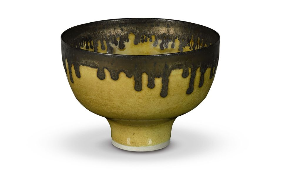 Yellow footed bowl (around 1980) by Dame Lucie Rie. Photo courtesy of Sotheby's