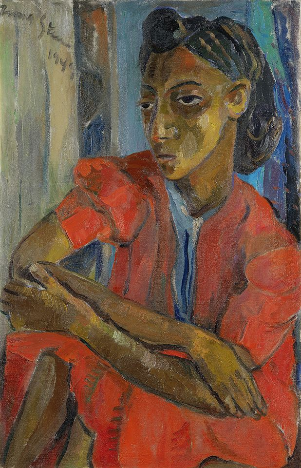 The Red Dress (1949) by Irma Stern. Photo courtesy of Bonhams