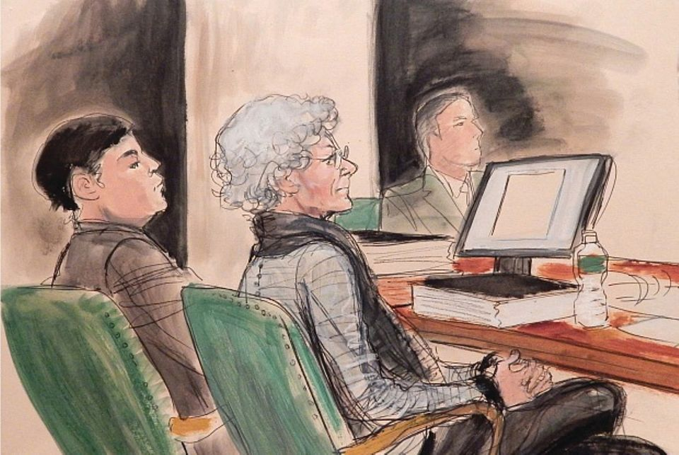 A courtroom sketch of Ann Freedman