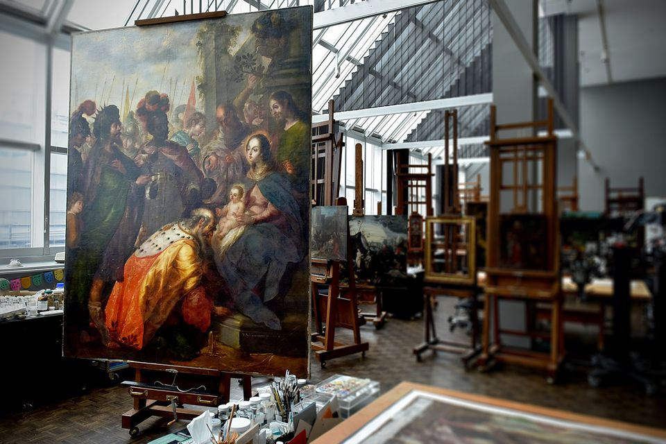 Cristóbal de Villalpando's The Epiphany (Adoration of the Magi), 1683, in the Met's painting conservation lab