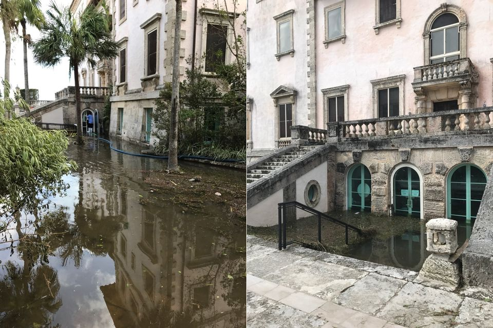 The Vizcaya Museum and Gardens in Coconut Grove sustained some serious flooding to its basement