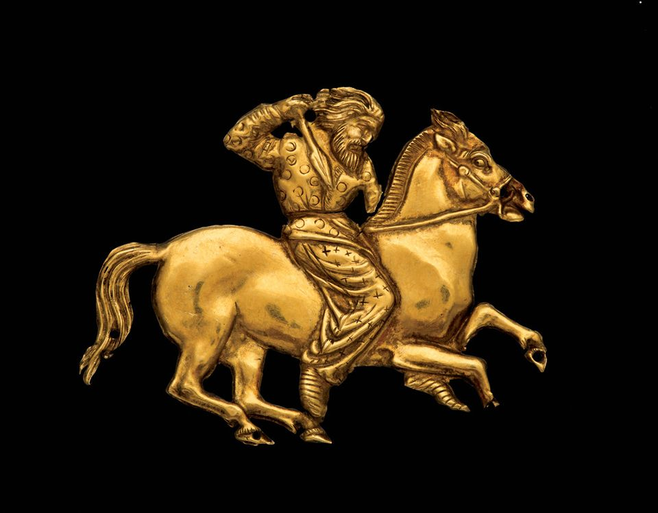 A gold plaque depicting a Scythian rider with a spear in his right hand, Kul' Oba (Second half of the fourth century BC)