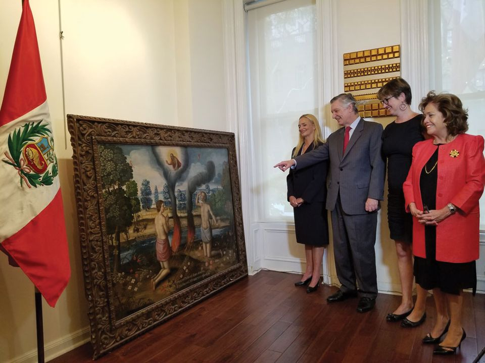 Los sacrificios de Caín y Abel and El Diluvio Universal were returned to the Consulate General of Peru in New York. From left: collector Tracey Willfong, Ambassador Carlos Pareja, Christie's general counsel Sandra Cobden and Ambassador Maria Merino de Hart