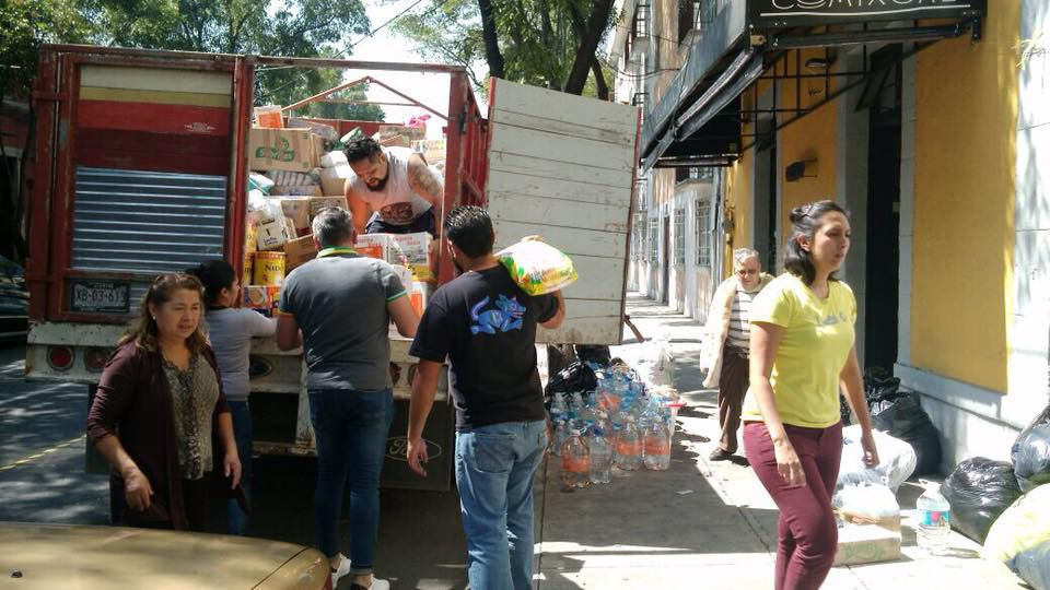 A truckload of food and supplies arrives for residents of the Mexican city of Juchitan who were affected by the earthquake