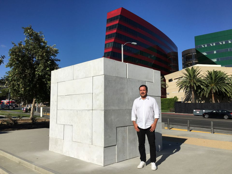The artist Jose Dávila with his sculpture Sense of Place (2017-18)