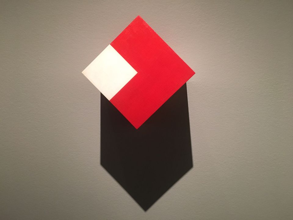 Willys de Castro's Active Object (Red/White Cube) (1962) in Making Art Concrete: Works from Argentina and Brazil in the Colección Patricia Phelps de Cisnersos at the Getty Museum