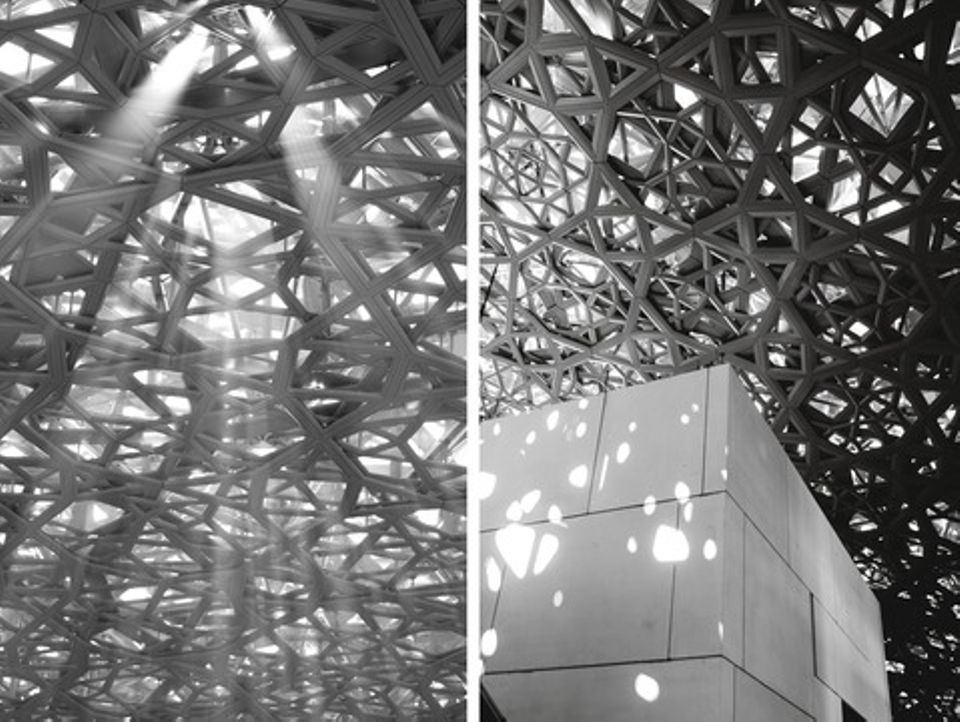 Natural light streaming through Louvre Abu Dhabi's interlaced dome
