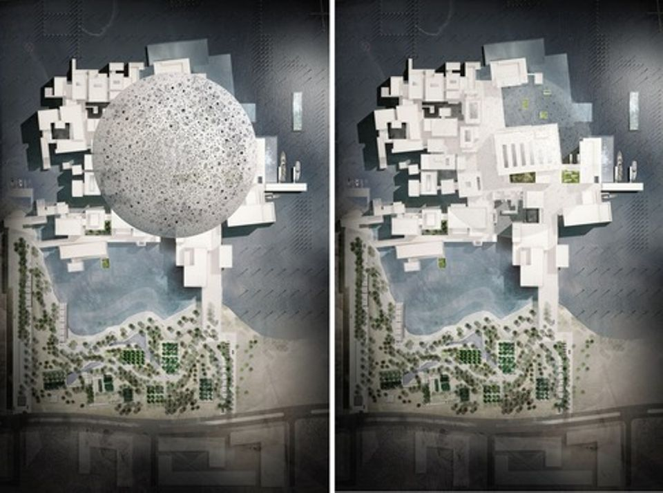 "Renderings of Louvre Abu Dhabi from above (left) and of the buildings under the dome (right). Louvre Abu Dhabi has been designed as a ""museum city"" in the sea, with its white buildings inspired by medinas and low-lying Arab settlements. The temporary exhibition space consists of  approximately 2,000 sq. m dedicated to changing subjects and themes"