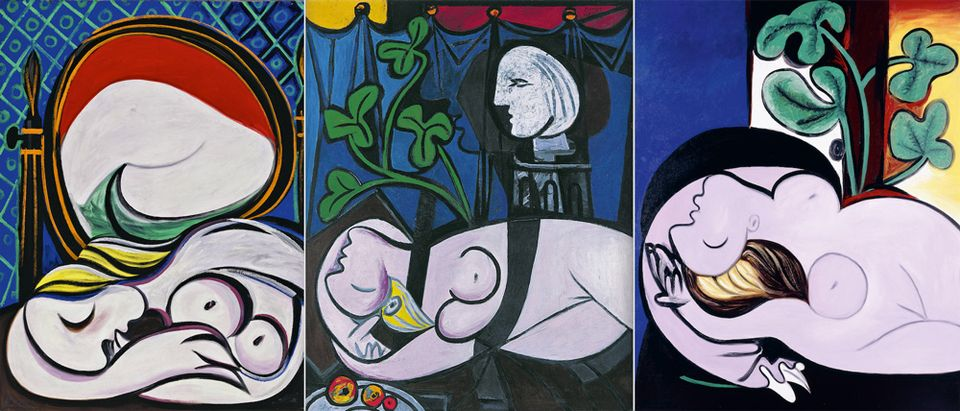 Pablo Picasso's The Mirror (1932), Nude Green Leaves and Bust (1932) and Nude in a Black Armchair (1932)