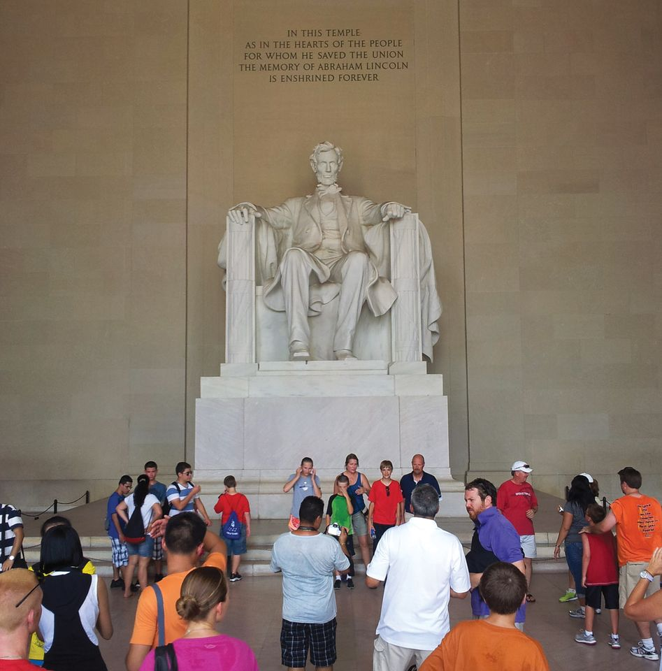 Daniel Chester French Lincoln Memorial. The Lincoln sculpture was originally planned to be half its final size.