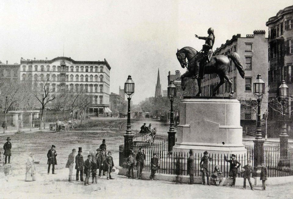 The Washington monument, around 1870, Union Square, Manhattan, New York City