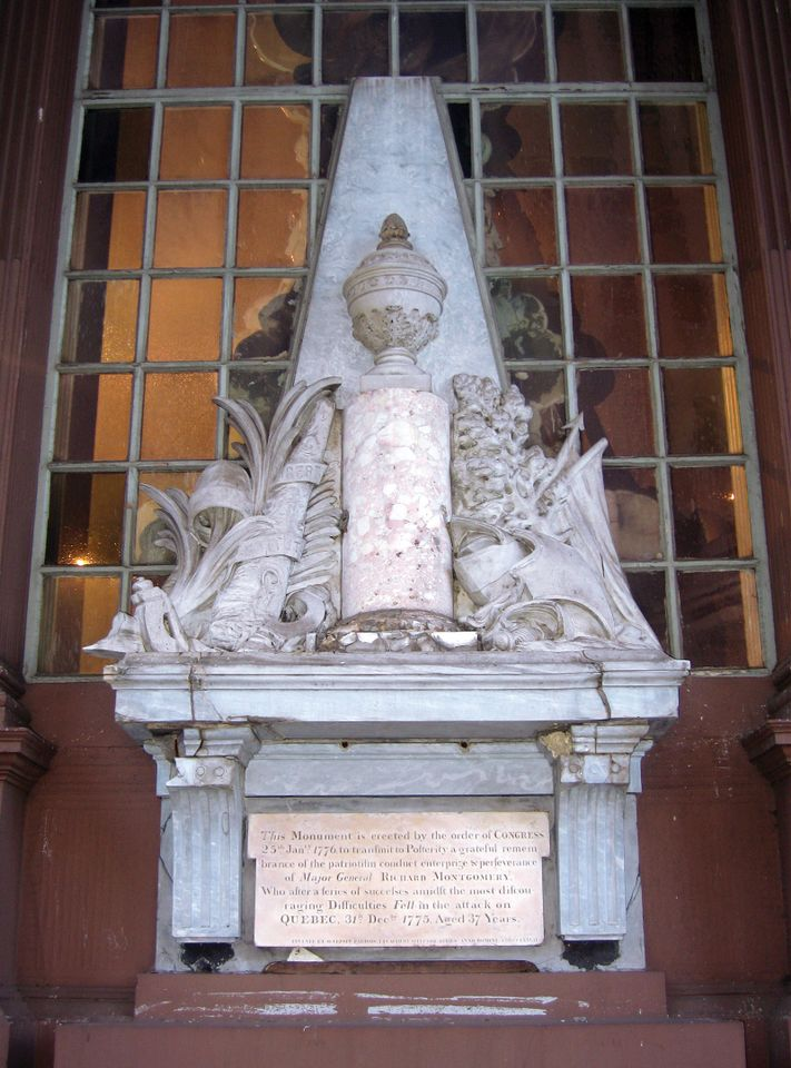 Jean-Jacques Caffieri's 1777 General Robert Montgomery Memorial in St Paul's Chapel, New York