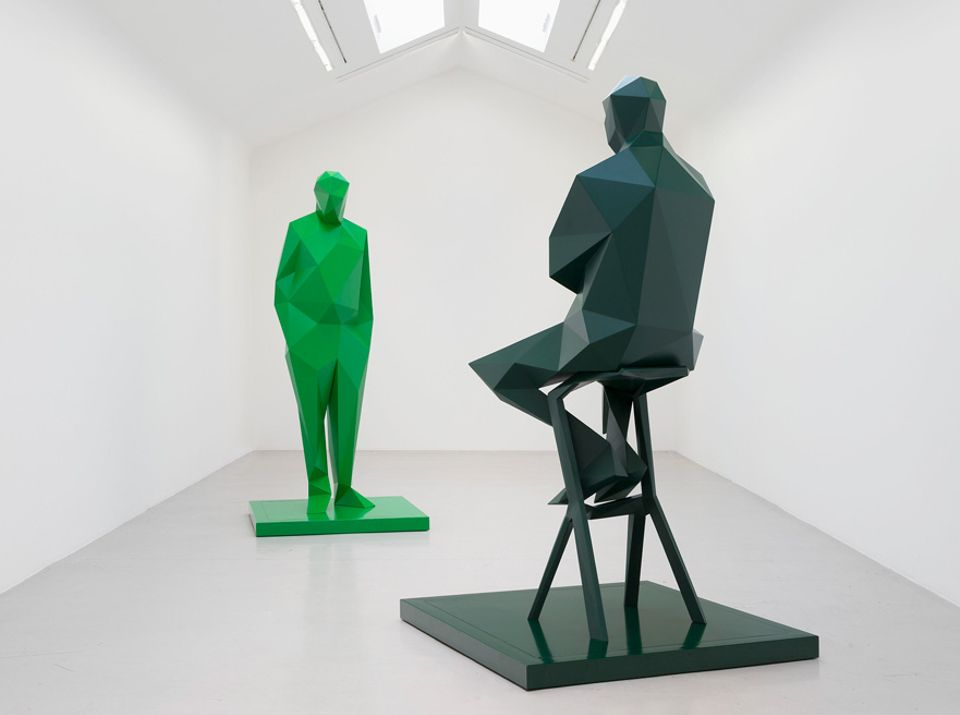 Xavier Veilhan's sculptures of Renzo Piano and Richard Rogers on show at Galerie Perrotin