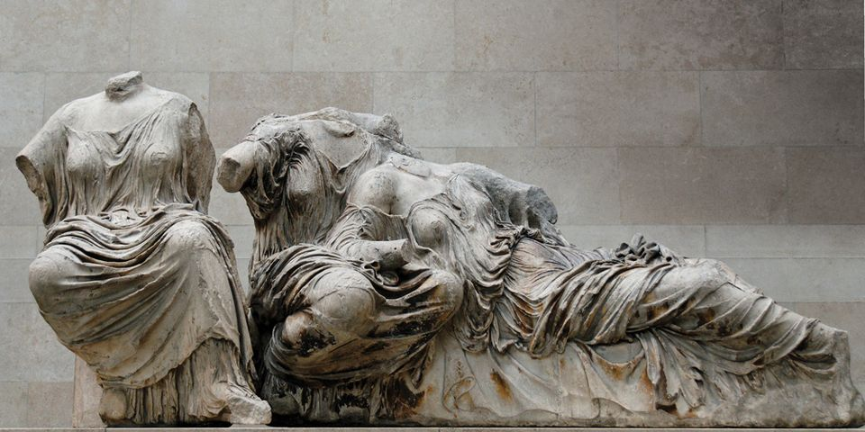 A sculpture, possibly of Hestia, Dione and Aphrodite, from the Parthenon in the British Museum
