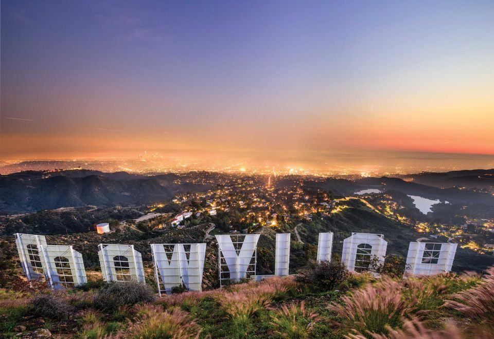 The Hollywood sign overlooking Los Angeles, California