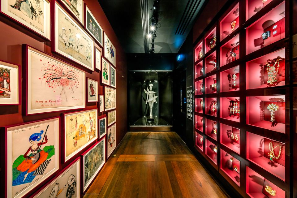 Yves Saint Laurent's sketches and jewellery in the Paris museum's cabinet of curiosities