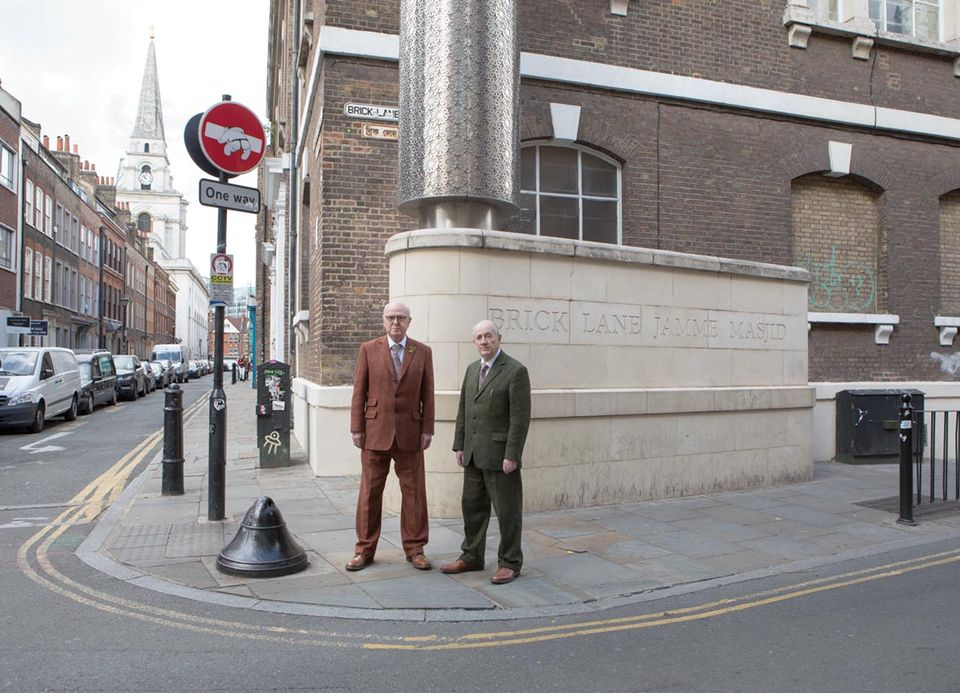 Gilbert and George photographed in and around Fournier Street