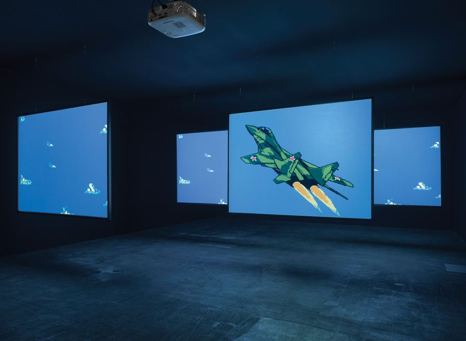 Cory Arcangel's MIG 29 Soviet Fighter Plane and Clouds (2005)