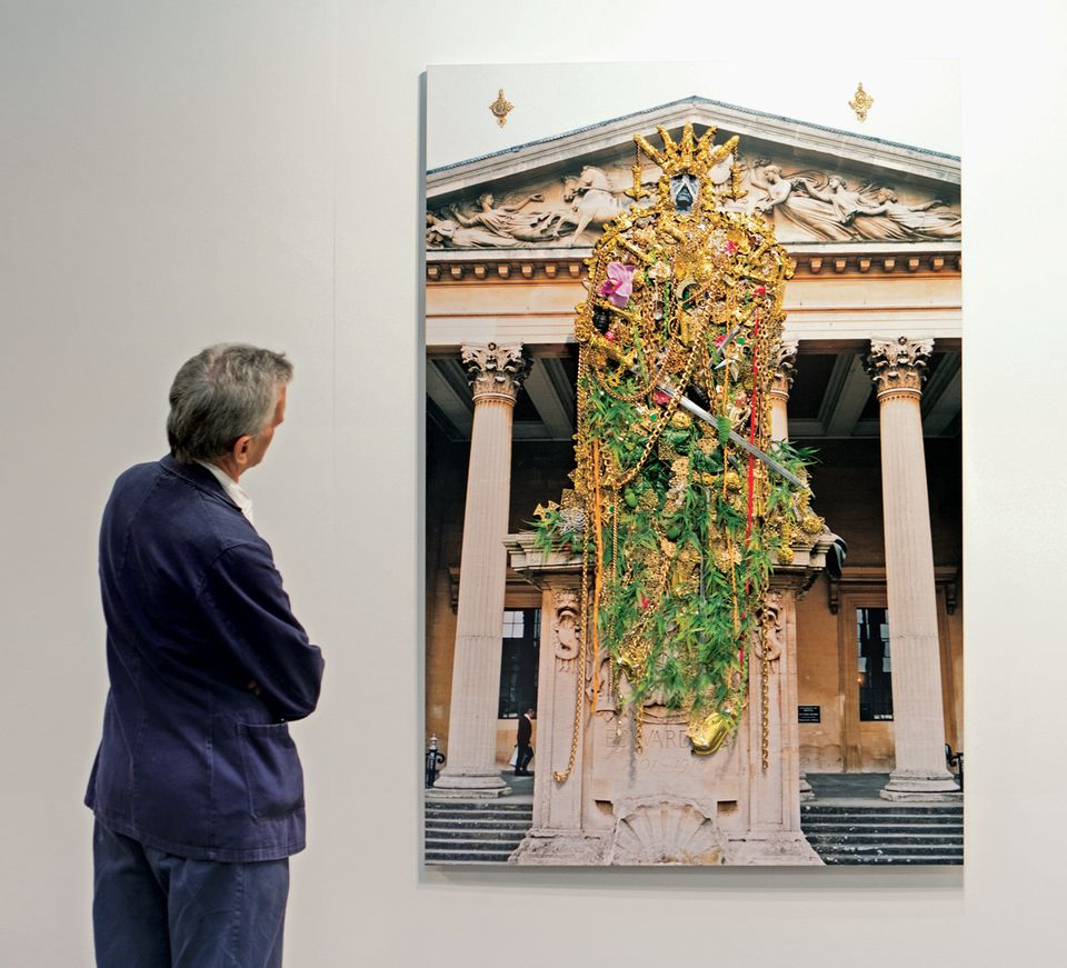 Hew Locke's Edward VII (2006), with P.P.O.W. gallery, is an image of a monument festooned with plastic jewellery