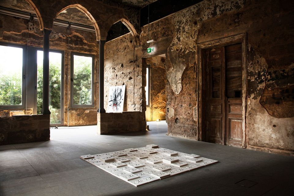 Installation view of Zena el Khalil's Sacred Catastrophe: Healing Lebanon exhibition at the Museum of Memory in Beirut