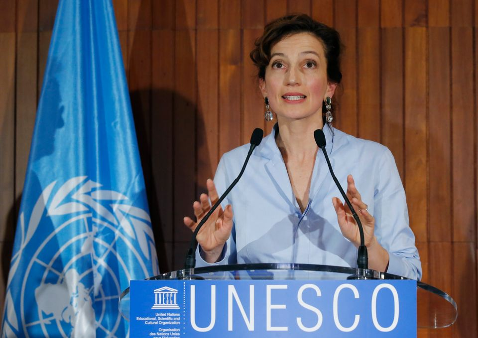UNESCO'S new elected director-general France's Audrey Azoulay gestures as she speaks to the media at the UNESCO headquarters in Paris, France, Friday, Oct. 13, 2017. UNESCO's executive board has chosen France's Audrey Azoulay as the Paris-based U.N. agency's new chief, rejecting a candidate from Qatar who was seen as the front-runner a day earlier