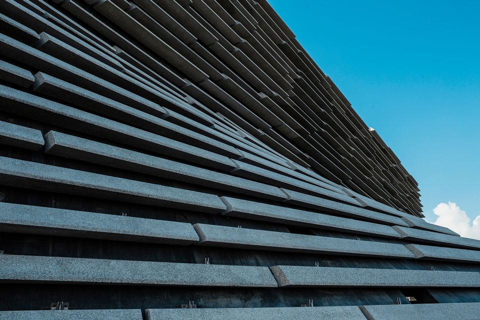 Close-up of one of V&A Dundee's exterior walls, which comprise of 2,500 panels
