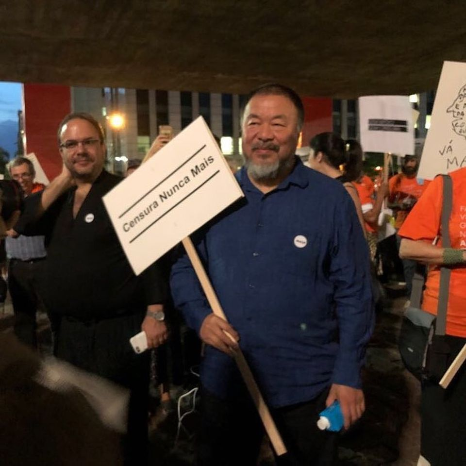Ai Weiwei at a anti-censorship protest at the Museu du Arte de São Paulo, which put an over-18 age limit on its current show looking at  the history of sexuality in art