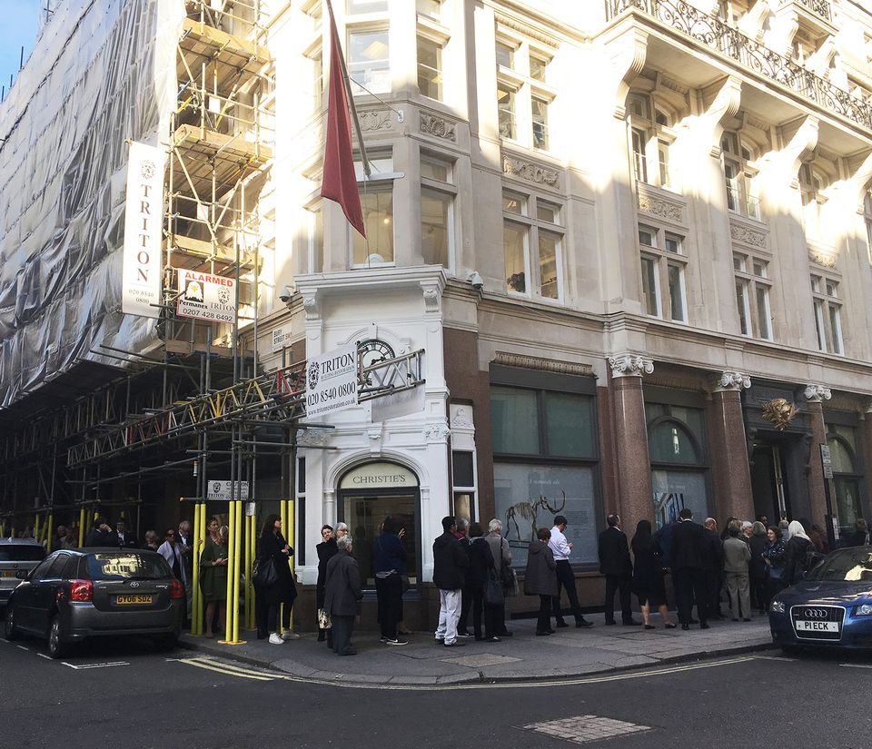 Queues form outside Christie's to see Salvator Mundi
