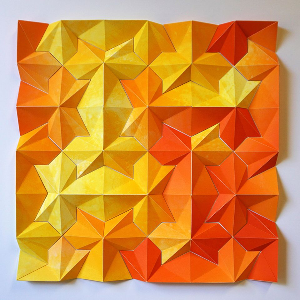 Matt Shlian's three-dimensional, five-colour lithographic monoprint collage Ara 244: The Other Ishihara Test-Sherbert, 2016