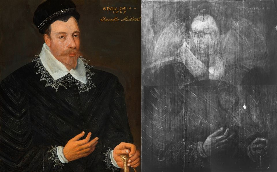 Adrian Vanson's Sir John Maitland, 1st Lord Maitland of Thirlestane (1589) and an X-ray image that reveals the portrait hidden beneath