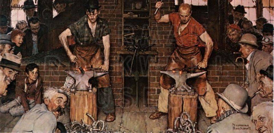 Blacksmith's Boy—Heel and Toe (1940) also known as Shaftsbury Blacksmith Shop, was given to the Berkshire Museum by Norman Rockwell