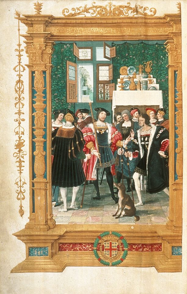 The frontispiece (around 1531-33) by the Master of the Getty Epistles to Anne de Montmorency's own copy of a translation of Cicero's Four Orations. It depicts the French baron surrounded by his courtiers before a display of gold and silver plate, in a chamber hung with millefleur tapestries
