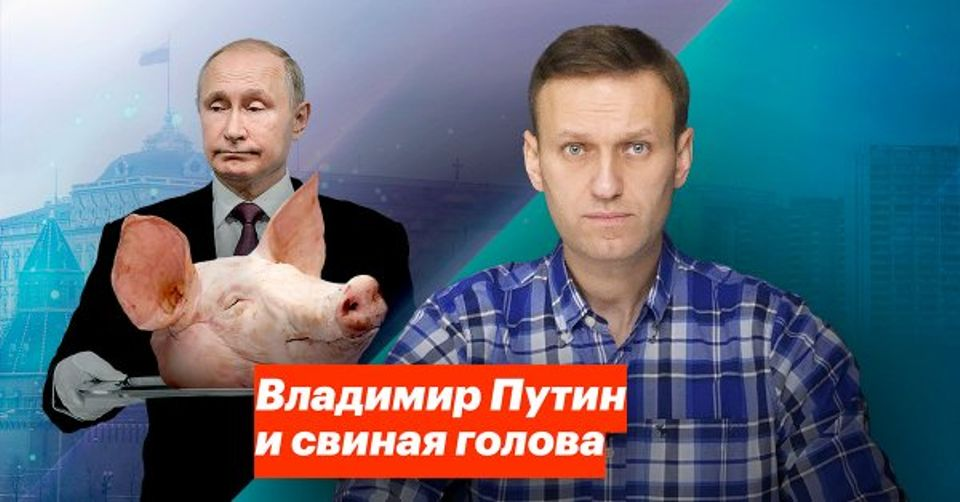 """Alexei Navalny posted a video titled """"Putin and the Pig's Head"""""""