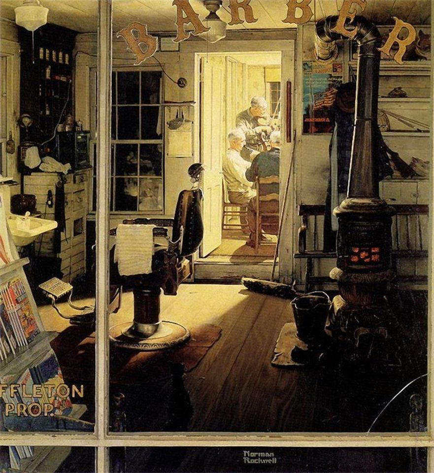 Shuffleton Barbershop (1950) was given to Berkshire Museum by Norman Rockwell
