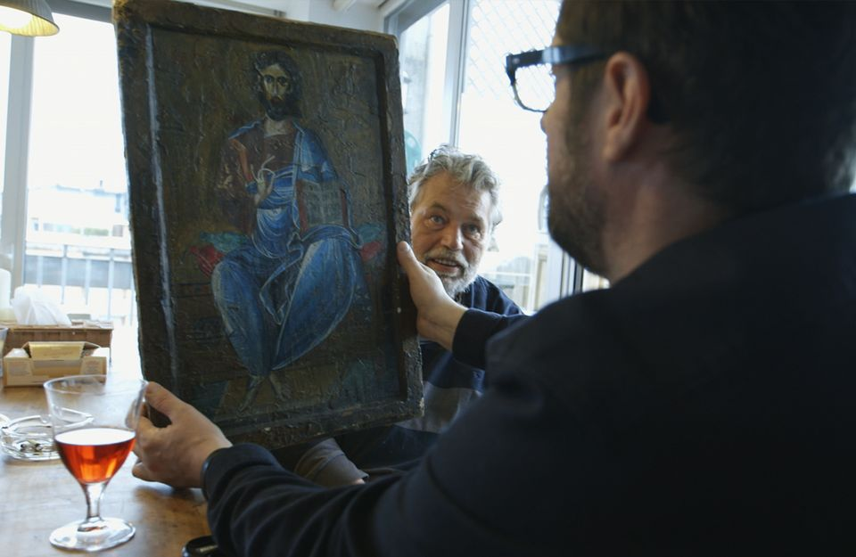 Michel van Rijn asks film-maker King ADZ  to smuggle an icon to test his loyalty in The Iconoclast