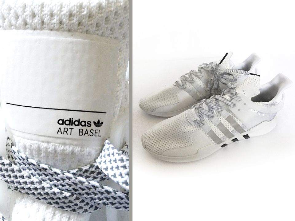 The limited-edition Adidas trainers with the Art Basel trademark were available on ebay last year