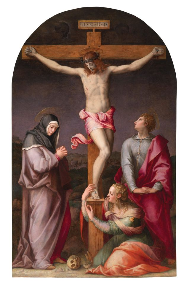 Crucifixion with Virgin Mary, St John the Evangelist and Mary Magdalene (around 1565) by Michele Tosini, Benappi Fine Art
