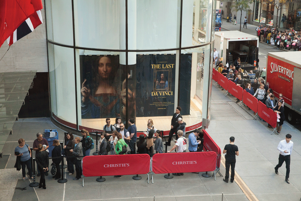 People queueing outside of Christie's New York to see Leonardo's Salvator Mundi