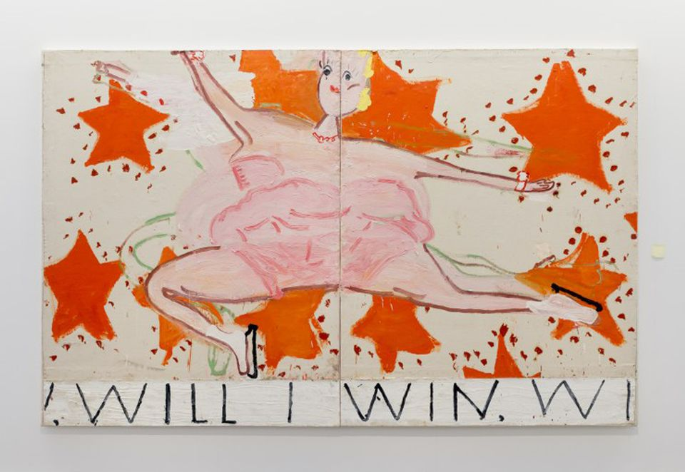 Installation view of Rose Wylie's Quack Quack exhibition at the Serpentine Sackler Gallery