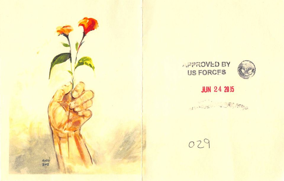 Muhammad Ansi, Hand Holding Red Flowers (2015), colour photocopy of original and reverse, showing stamps indicating approval for release from Guantánamo