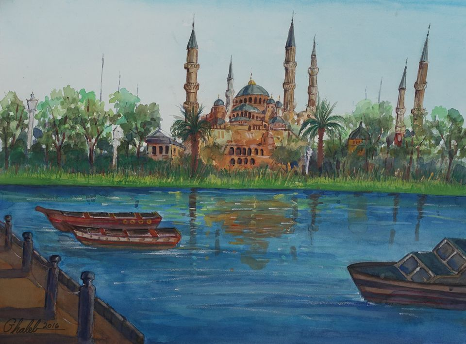 Ghaleb Al-Bihani, Blue Mosque Reflected in a River (2016), made after a terror attack in Istanbul near the Blue Mosque