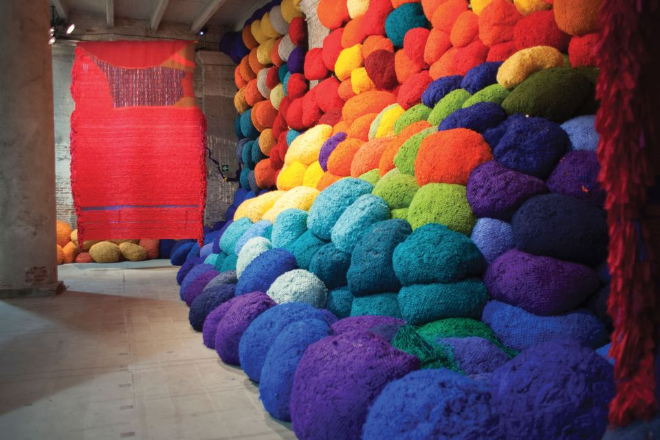 Sheila Hicks's woollen work Escalade Beyond Chromatic Lands at Venice