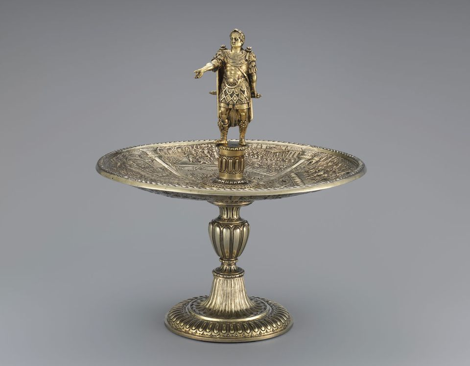 Galba figure and Caligula dish from the Aldobrandini Tazze, ca. 1587–99. The set is thought to have been made for the Habsburg dynasty
