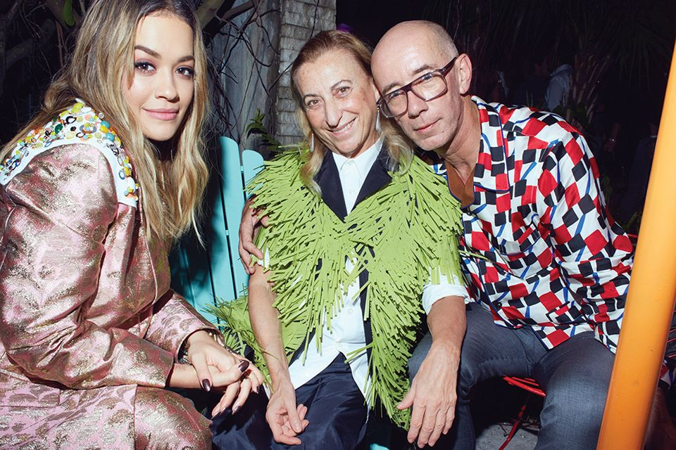 Rita Ora, Miuccia Prada and Carsten Höller at the opening night of The Prada Double Club Miami