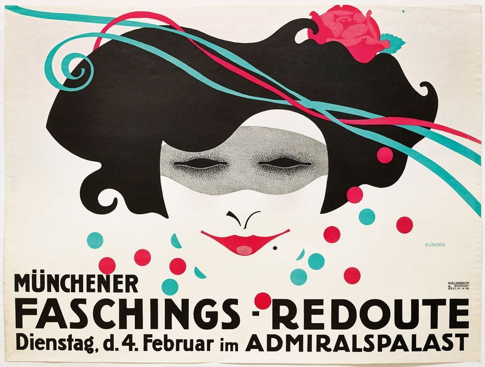 A poster by Klinger promoting a masked carnival ball in Munich in 1914