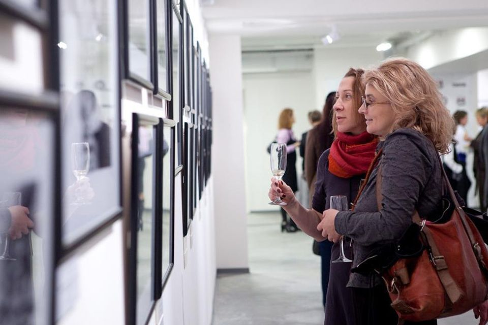 Visitors at an earlier exhibition at Lumiere Brothers Center for Photography in Moscow