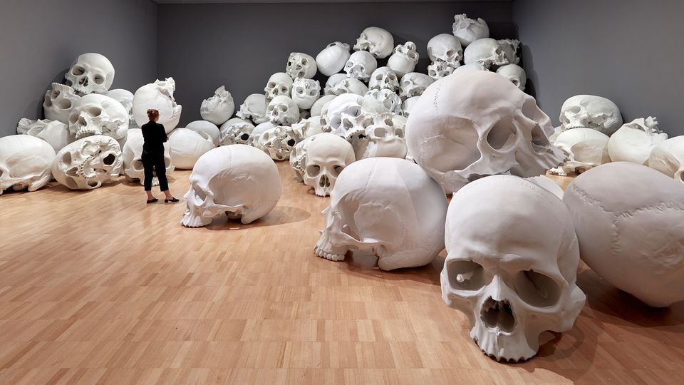 "In a rare interview, Mueck tells The Art Newspaper that he began Mass in his UK studio where he sculpted the original skull from clay and made some silicone moulds that would ultimately be used to cast multiple copies. ""Because the original clay model gets destroyed in the moulding process, I cast out a master skull in resin to make additional moulds from,"" Mueck says. ""This master skull and the two moulds were shipped to Australia."""